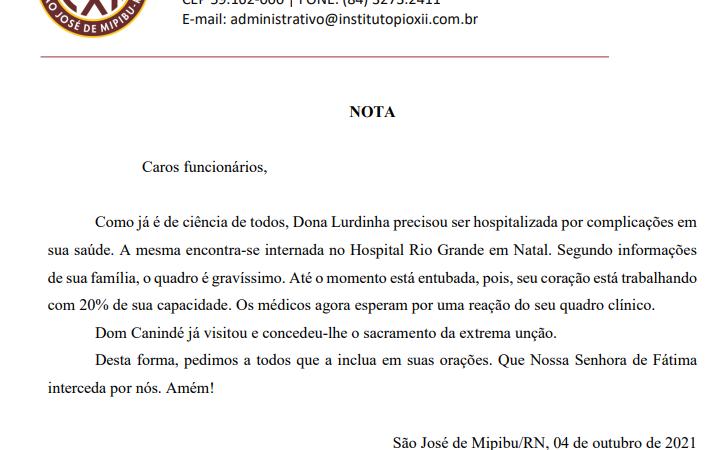 INSTITUTO PIO XII EMITE NOTA SOBRE ESTADO DE SAÚDE DE LURDINHA PALHANO